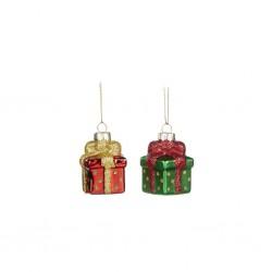 Set 2 globuri in forma de cadou, 6 cm- YA92120