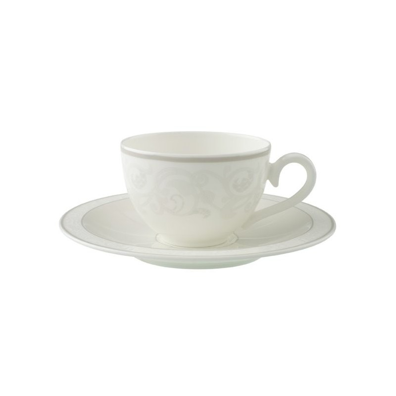 ceasca cafea ceai cup and saucer gray pearl deco in