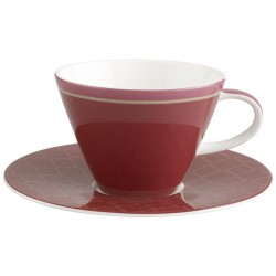 Ceasca cappucino white coffe cup and saucer caffe club uni berry