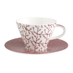 Ceasca cappucino white coffe cup and saucer caffe club floral berry