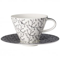 Ceasca cappucino white coffe cup and saucer caffe club floral steam, cod 176379/176386