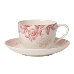 Ceasca de cafea cu Farfurie Floreana Red, cod 267770/267787