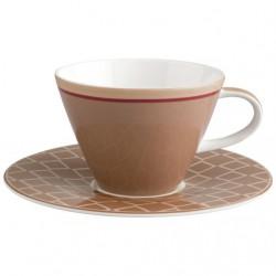 Ceasca cappuccino cu farfurie Caffe club Uni Caramel, cod 487454/487447