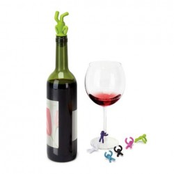 Set 6 semne de pahar+dop sticla drinking buddy wine