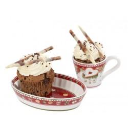 Ceasca cafea cu farfurie Cupcake Winter bakery delight