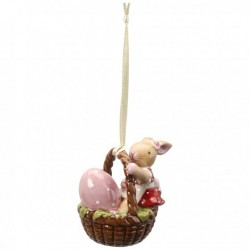 Decoratiune Spring decoration- ornament basket with bunny girl