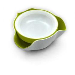 Bol servire 2 in 1 double dish alb verde