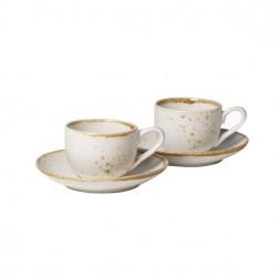Set 2 cesti si 2 farfurii espresso Stoneware White