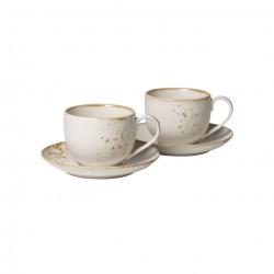 Set 2 cani si 2 farfurii cafea Stoneware White