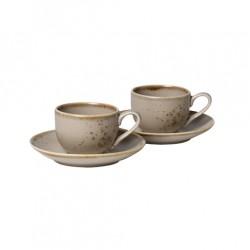 Set 2 cesti si 2 farfurii pentru espresso Brown Stoneware Vivo-Vivo by Villeroy&Boch