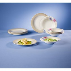 Set 12 piese Mariefleur Gris Basic Cotton dinner set