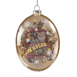 Glob oval Santa in car- TR26060