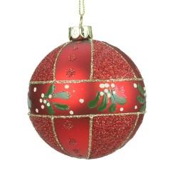Decoratiune brad glob rosu mat cu sclipici