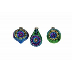 Decoratiune brad 3as globuri peacock 00237