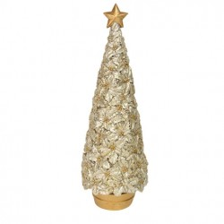Decoratiune Craciun tree gold holly in pot 32803