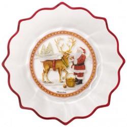 Bol sticla Christmas glass Santa with Reindeer