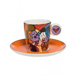 Cescuta cu farfuriuta orange cu sarut espresso-ARTIST ROMERO BRITTO-Goebel-301049