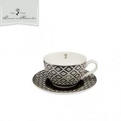 Cana si farfuriuta cafea alb negru Diamonds-Goebel-315183