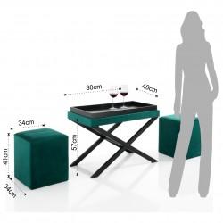Set masa cu 2 scaunele, Petroleum - Tomasucci