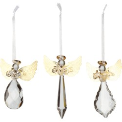 Set 3 decoratiuni pentru brad din sticla, ingerasi - 406742