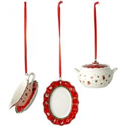 Set 3 decoratiuni Craciun, Toy's Del Dec ornaments serv items, portelan premium - 392847