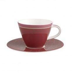 Ceasca cafea cu farfurie Caffee club uni berry