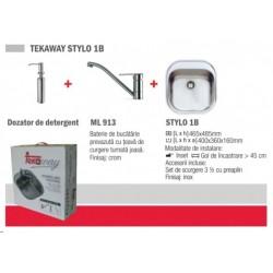 Pachet Teka Tekaway Stylo 1B chiuveta Stylo 1B inox satinat, baterie ML/MF2, dozar pentru detergent