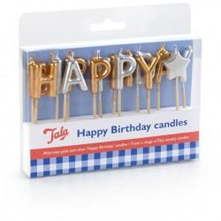 Set lumanari Happy Birthday-10A10185-TALA  Aurii+argintii