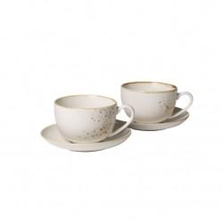 Set 2 cani si 2 farfurii cappuccino Stoneware White