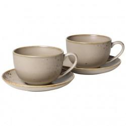 Set 2 cani si 2 farfurii cappuccino, brown large coffee-Vivo