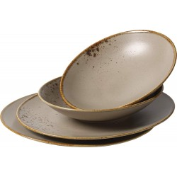 Set 4 farfurii Dinner Stoneware Brown Vivo